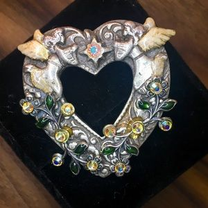Kerissa 90s Retro Heart, Angel, Borealis Brooch